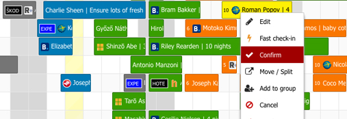 Foglalási naptár - részlet